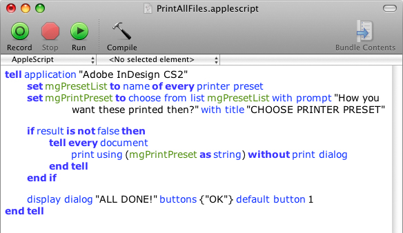 Screen grab of Print All Files script