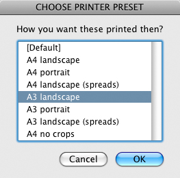 screen grab showing printer preset list
