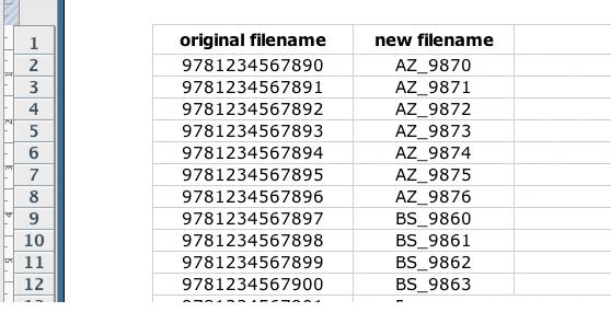 screen grab showing filenames in excel