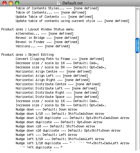 screen grab showing keyboard shortcuts in text editor