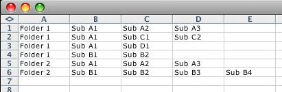 screen grab of more complex csv file