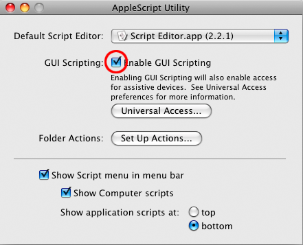 screen grab of applescript utility showing gooey scripting enabled