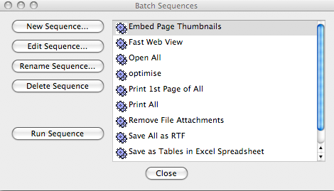 screen grab of batch sequences window