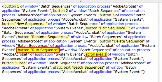 screen grab of UI elements of batch sequences window
