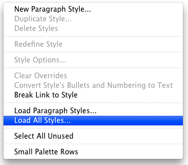 screen grab showing paragraph styles panel dropdown list
