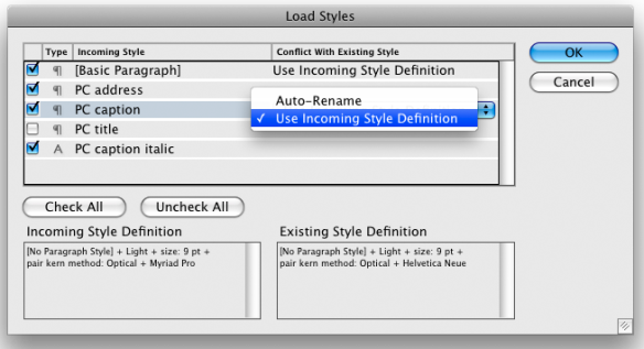 screen grab showing load all styles window