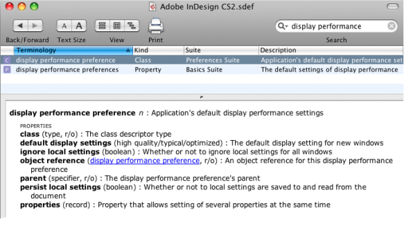 screen grab of display performance entry in applescript library