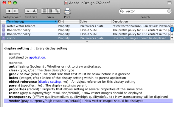 screen grab of vector entry in applescript library