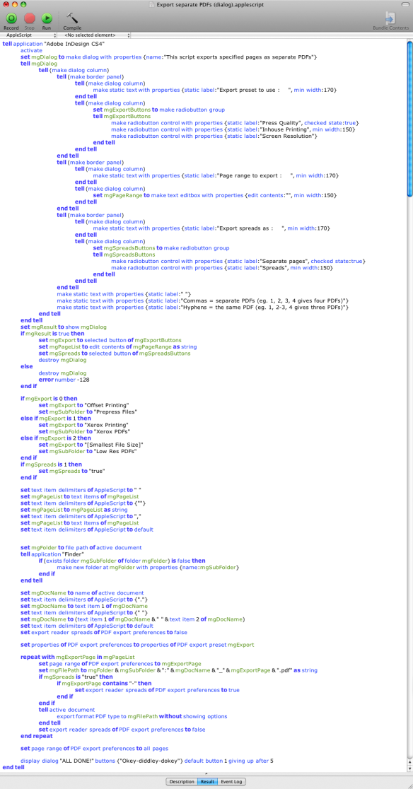 screen grab of final Export As Separate PDFs script