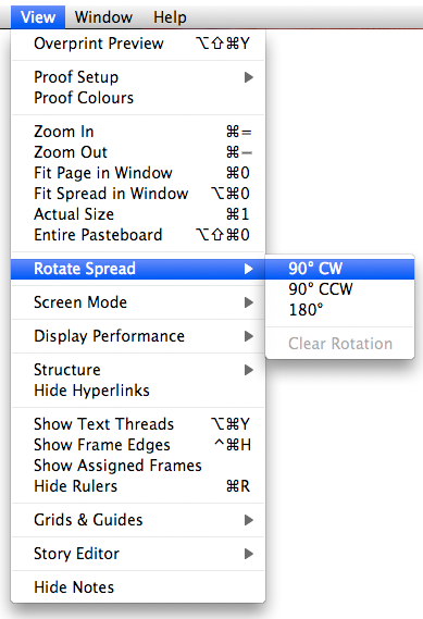 screen grab of how to rotate spread from view menu