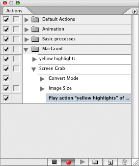 "screen grab showing ""play action"" command added to new recording"