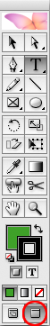 screen grab of tool panel showing screen mode button at bottom