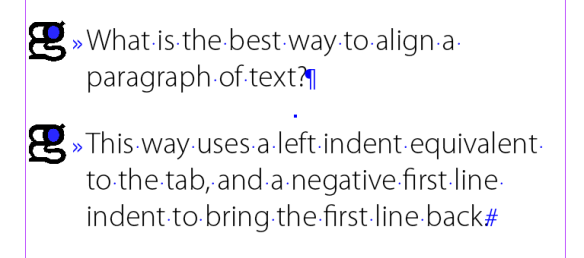 screen grab of paragraph aligned using correct text indents