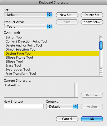 screen grab of design page tool in keyboard shortcuts panel