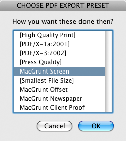 screen grab of pdf export selection dialog