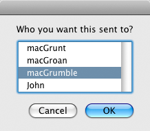 screen grab of email recipient dialog