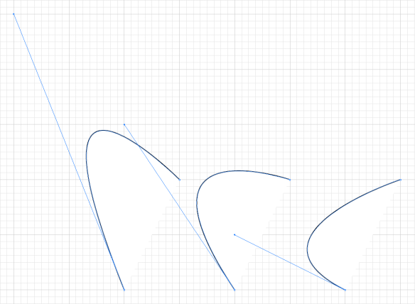 screen grab of three more open curves