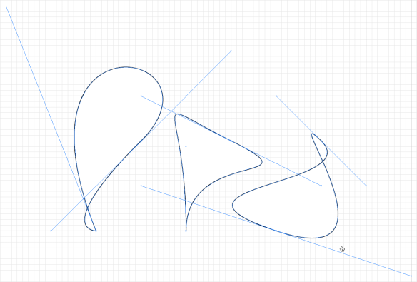 screen grab showing complex shapes from just two anchor points