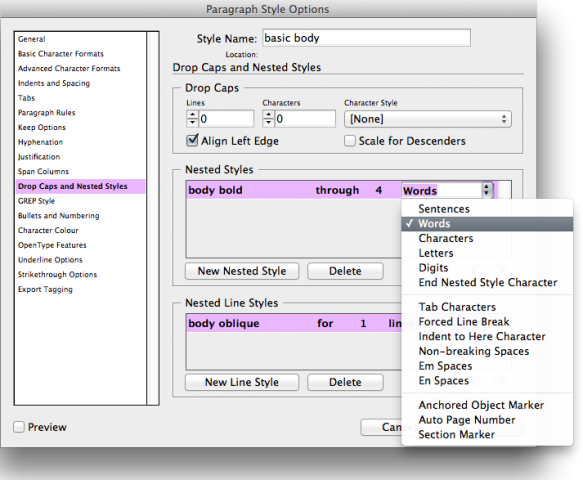 screen grab showing how to set the nested style