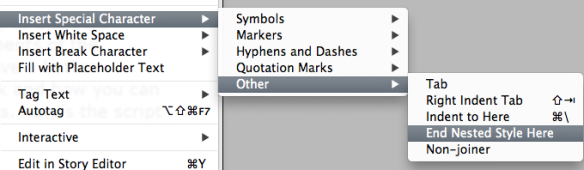 contextual menu showing where to find the end nested style here character
