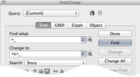 using find/change to place special character before em dashes