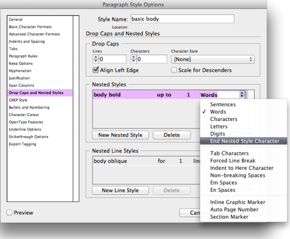 changing nested style to end at special character