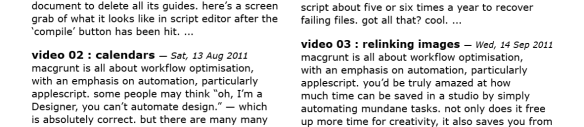 screen grab showing correctly styled text