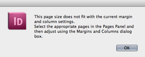 screen grab of margin warning dialog