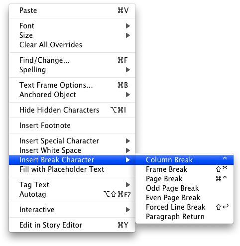 screen grab showing how to select break characters from conditional menu
