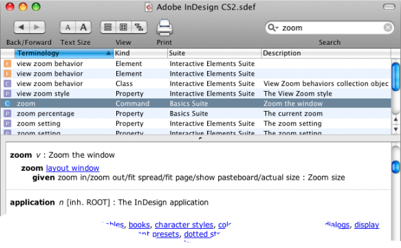 screen grab of CS2 dictionary showing zoom command
