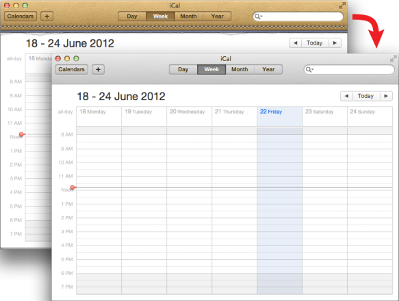 screen grab of iCal before and after updating graphics
