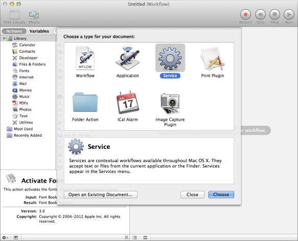 screen grab of automator startup screen