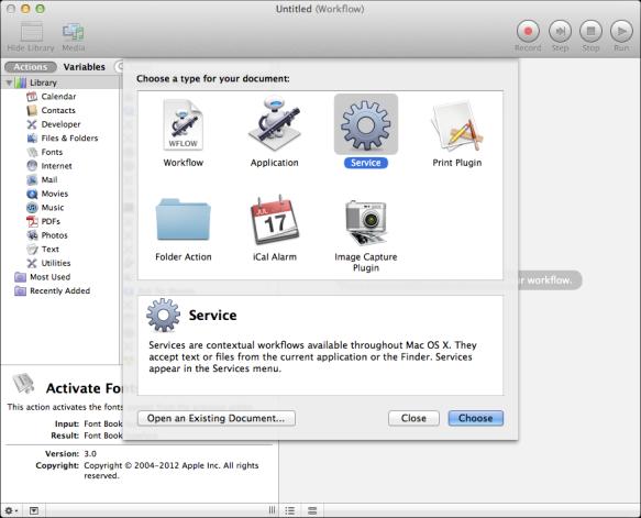 screen grab of automator startup screen
