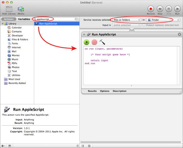 screen grab of automator with service being built
