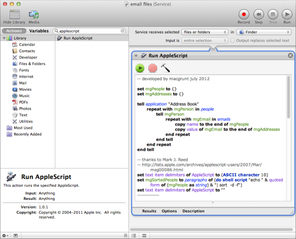 screen grab of automator service window with applescript in place
