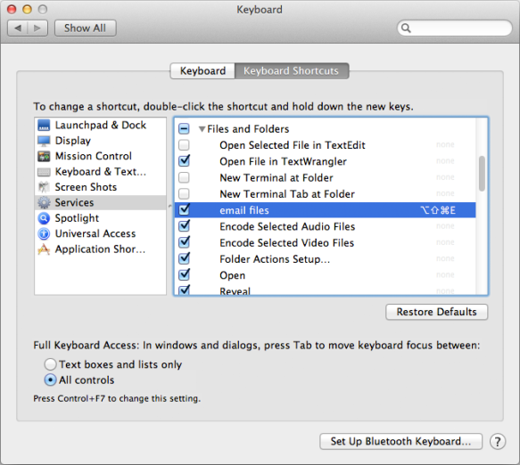 screen grab of services preferences window
