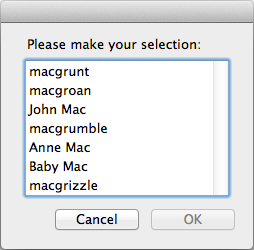 screen grab of initial choose from list dialog