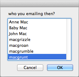 screen grab of alphabetisied choose from list dialog