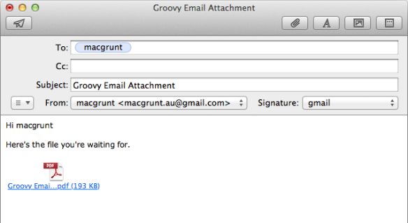 screen grab of email created by the script