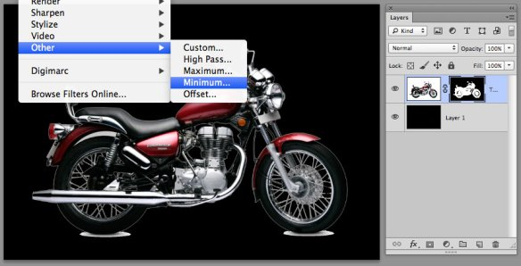 screen grab showing the minimum filter being applied to the layer mask