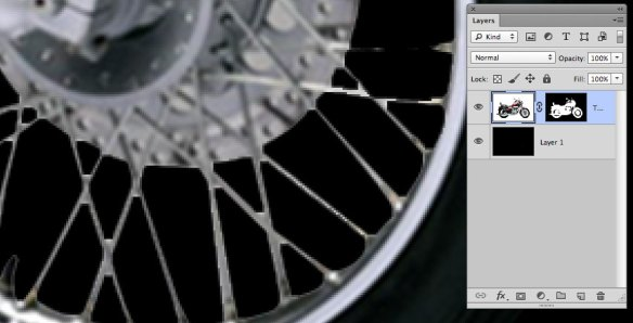 screen grab showing closeup of badly masked spokes