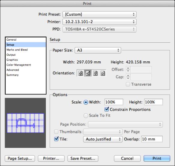 screen grab of standard print dialog