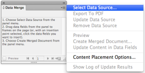 screen grab of data merge panel with dropdown menu