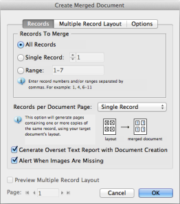 screen grab of data merge options window