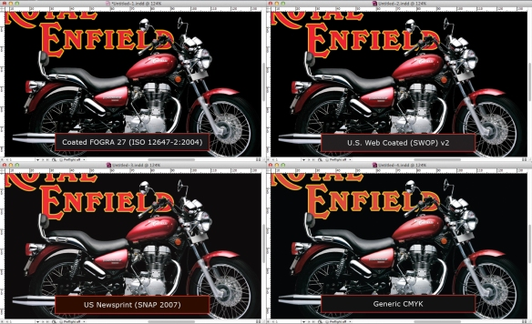 screen grab of four versions of one image in InDesign
