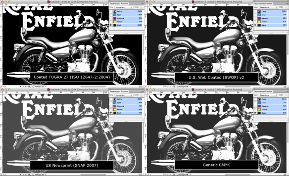 screen grab of four versions of one image in InDesign — black plates only