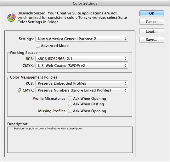 screen grab of  North America General Purpose colour settings