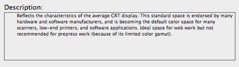 screen grab of description for sRGB color space