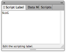 screen grab of script label window