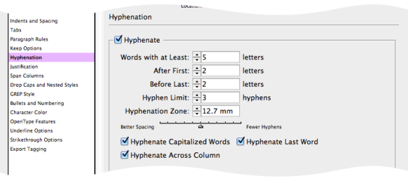 screen grab of default hyphenation settings